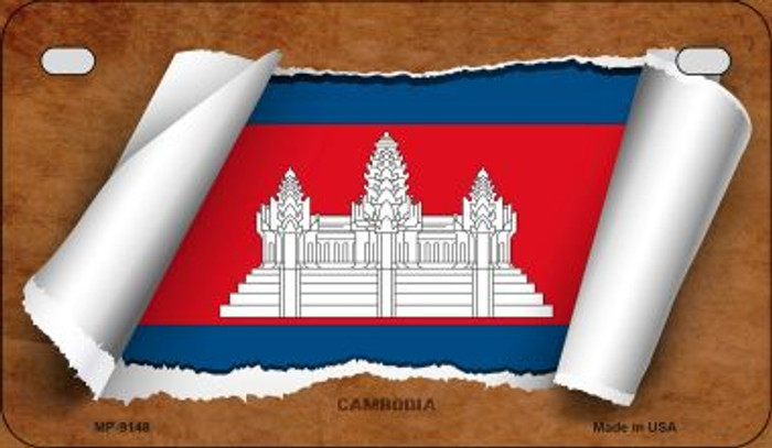 Cambodia Flag Scroll Novelty Metal Motorcycle Plate MP-9148