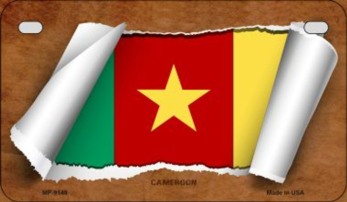 Cameroon Flag Scroll Novelty Metal Motorcycle Plate MP-9149