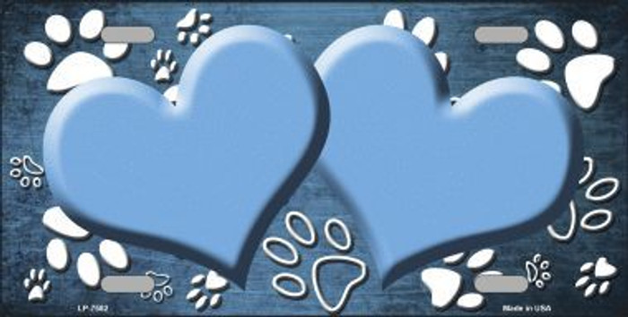 Paw Print Heart Light Blue White Metal Novelty License Plate