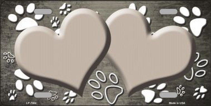 Paw Print Heart Tan White Metal Novelty License Plate