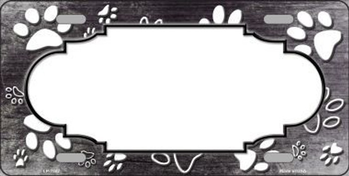 Paw Print Scallop Black White Metal Novelty License Plate