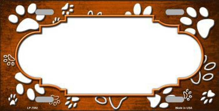Paw Print Scallop Orange White Metal Novelty License Plate