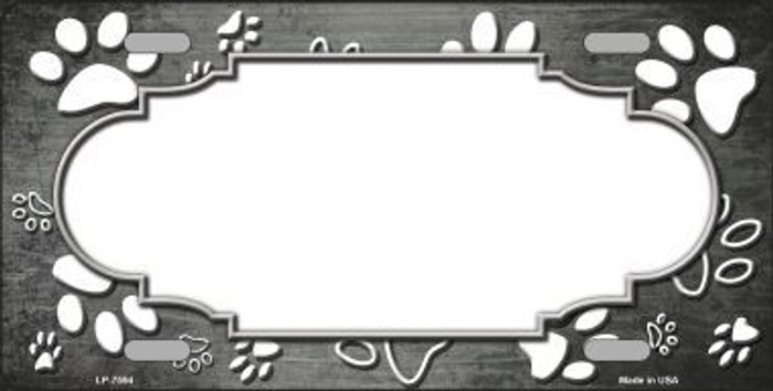 Paw Print Scallop Gray White Metal Novelty License Plate