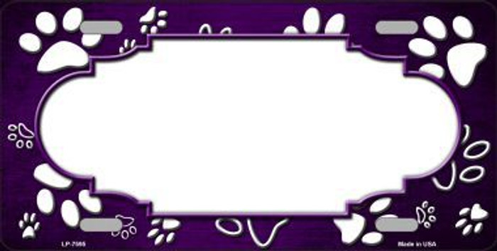 Paw Print Scallop Purple White Metal Novelty License Plate