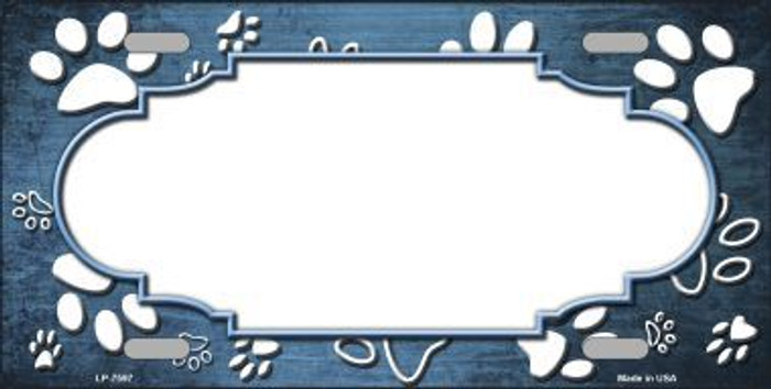 Paw Print Scallop Light Blue White Metal Novelty License Plate