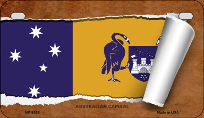 Australian Capital Flag Scroll Novelty Metal Motorcycle Plate MP-9326