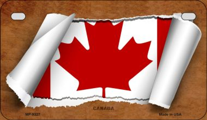Canada Flag Scroll Novelty Metal Motorcycle Plate MP-9327