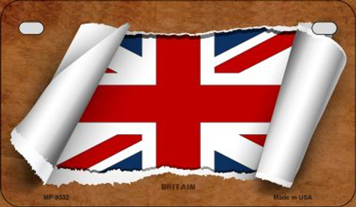 Britain Flag Scroll Novelty Metal Motorcycle Plate MP-9332