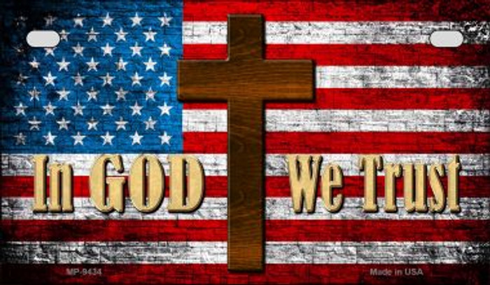 In God We Trust With Cross Novelty Metal Motorcycle Plate MP-9434