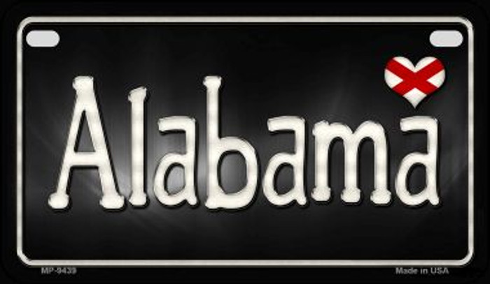 Alabama Flag Script Novelty Metal Motorcycle Plate MP-9439