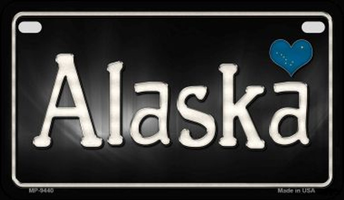 Alaska Flag Script Novelty Metal Motorcycle Plate MP-9440