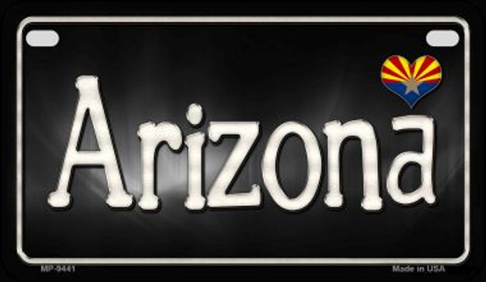 Arizona Flag Script Novelty Metal Motorcycle Plate MP-9441