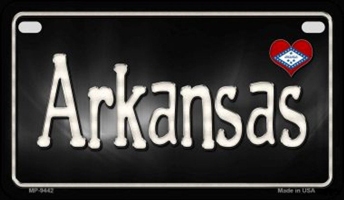 Arkansas Flag Script Novelty Metal Motorcycle Plate MP-9442