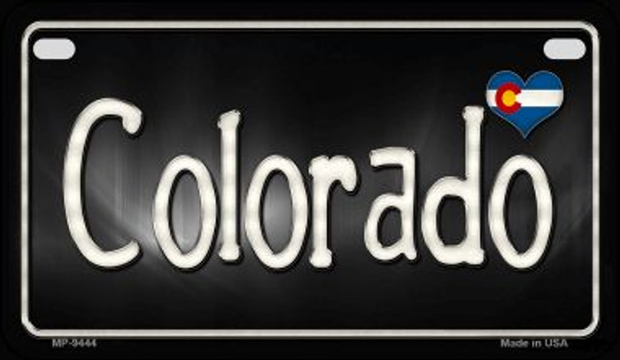 Colorado Flag Script Novelty Metal Motorcycle Plate MP-9444