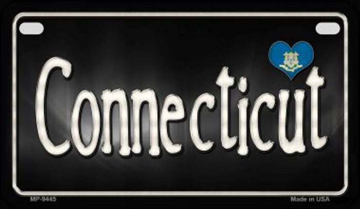 Connecticut Flag Script Novelty Metal Motorcycle Plate MP-9445