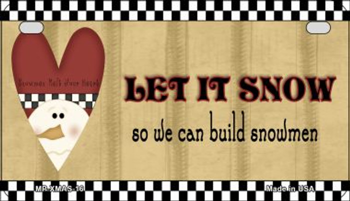 Let it Snow Novelty Metal Motorcycle Plate XMAS-16