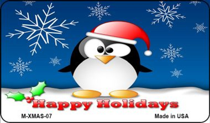 Happy Holidays Penguin Novelty Metal Magnet XMAS-07
