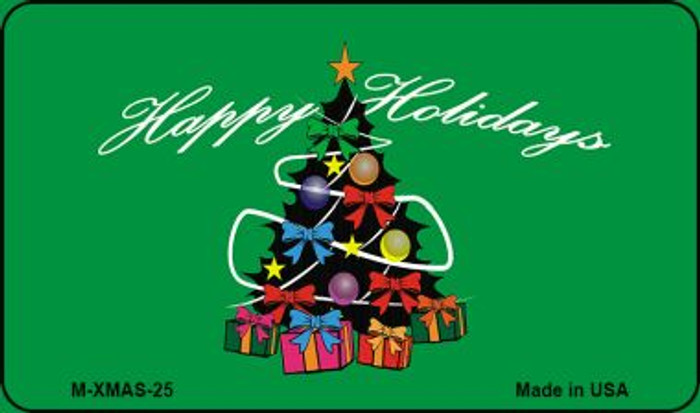 Happy Holidays Christmas Tree Novelty Metal Magnet XMAS-25