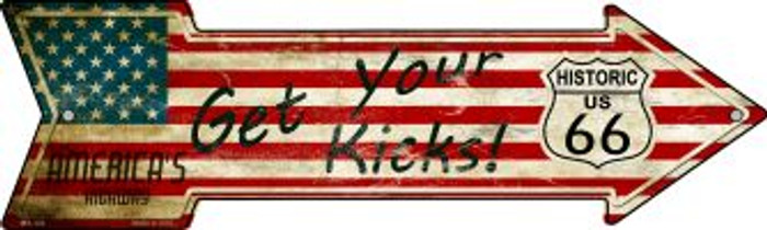 American Flag Get Your Kicks Novelty Mini Metal Arrow MA-122