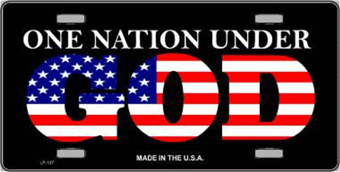 One Nation Under God Metal Novelty License Plate