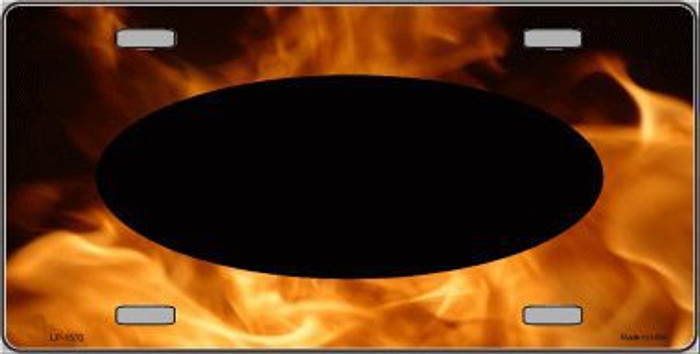 Pattern Real Flame With Black Center Oval Metal Novelty License Plate