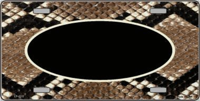 Pattern Snake With Black Center Oval Metal Novelty License Plate