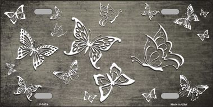 Lime Green White Butterfly Print Oil Rubbed Metal Novelty License Plate