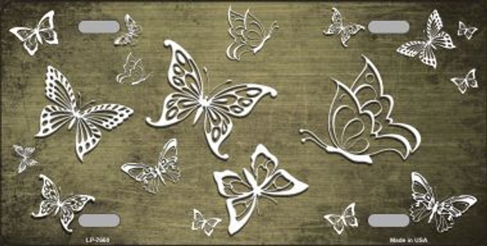Gold White Butterfly Print Oil Rubbed Metal Novelty License Plate
