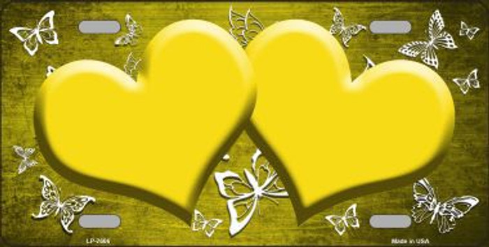 Yellow White Hearts Butterfly Print Oil Rubbed Metal Novelty License Plate