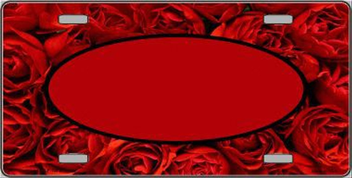 Pattern Red Roses With Red Center Oval Metal Novelty License Plate
