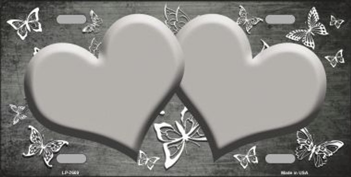 Gray White Hearts Butterfly Print Oil Rubbed Metal Novelty License Plate