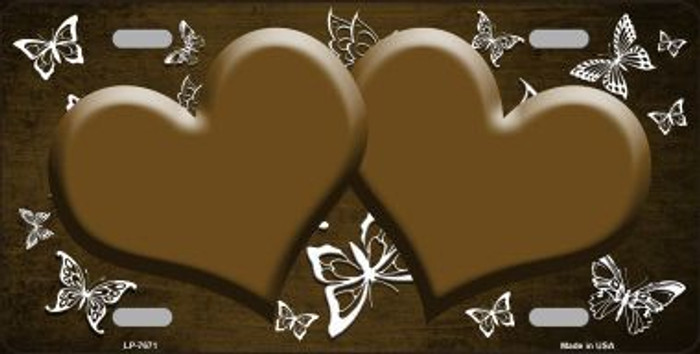 Brown White Hearts Butterfly Print Oil Rubbed Metal Novelty License Plate