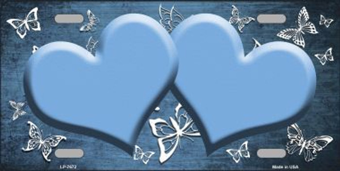 Light Blue White Hearts Butterfly Print Oil Rubbed Metal Novelty License Plate