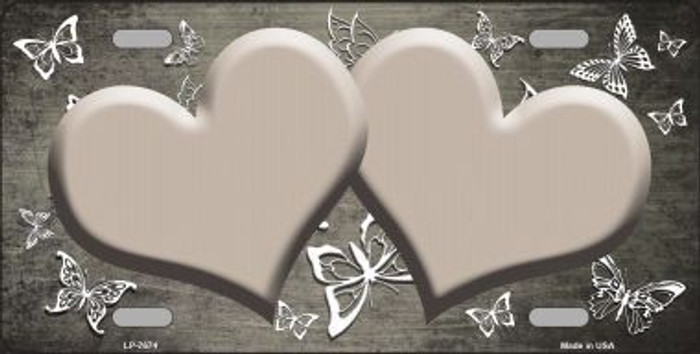 Tan White Hearts Butterfly Print Oil Rubbed Metal Novelty License Plate