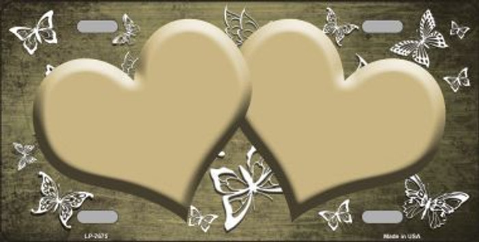 Gold White Hearts Butterfly Print Oil Rubbed Metal Novelty License Plate