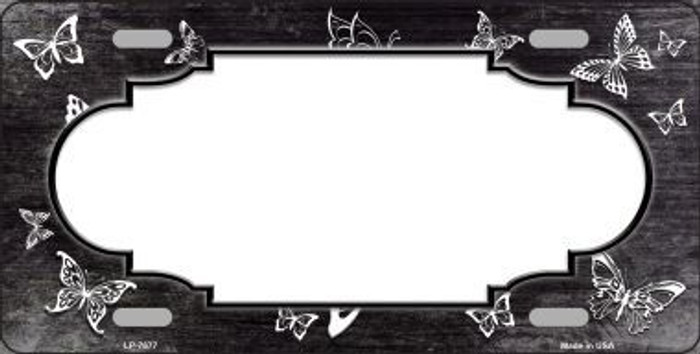 Black White Scallop Butterfly Print Oil Rubbed Metal Novelty License Plate