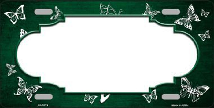 Green White Scallop Butterfly Print Oil Rubbed Metal Novelty License Plate