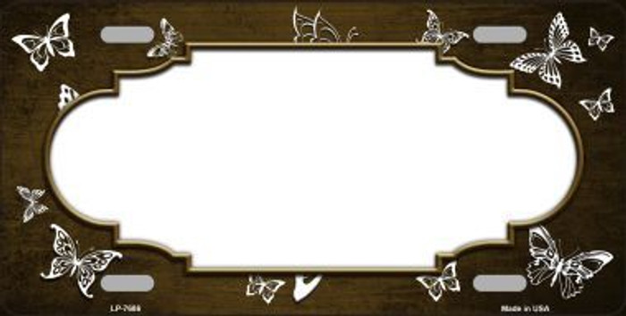 Brown White Scallop Butterfly Print Oil Rubbed Metal Novelty License Plate