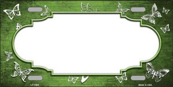 Lime Green White Scallop Butterfly Print Oil Rubbed Metal Novelty License Plate