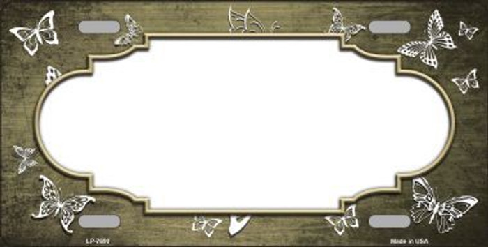 Gold White Scallop Butterfly Print Oil Rubbed Metal Novelty License Plate