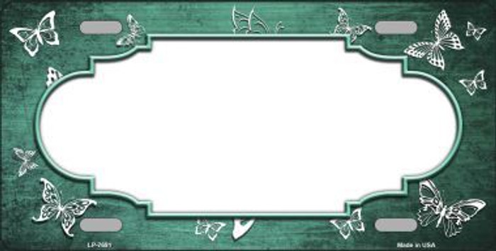 Mint White Scallop Butterfly Print Oil Rubbed Metal Novelty License Plate