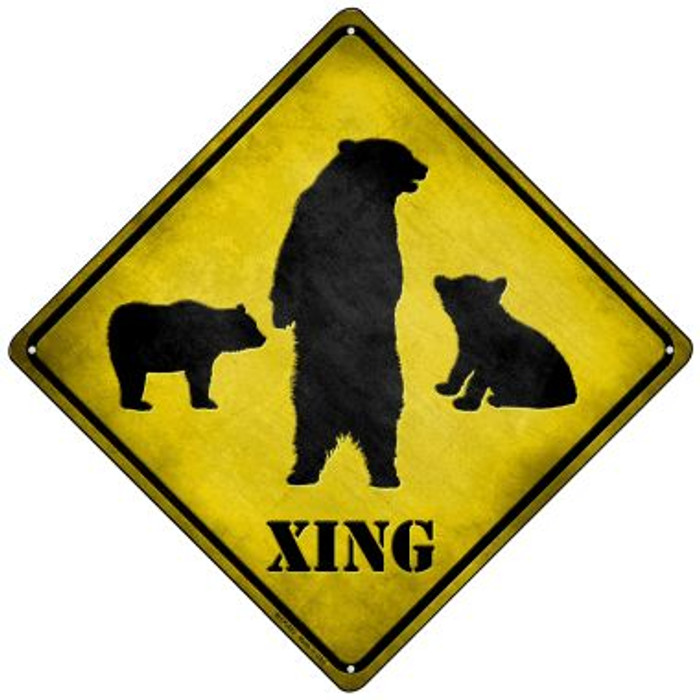 Bears Xing Novelty Mini Metal Crossing Sign MCX-023