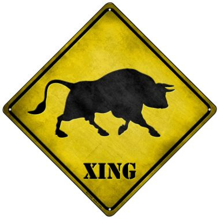 Bull Xing Novelty Mini Metal Crossing Sign MCX-028