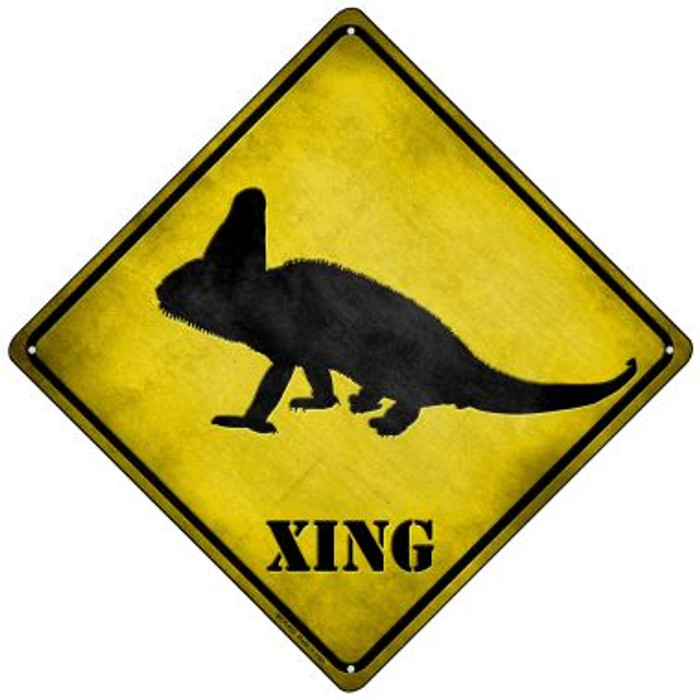 Chameleon Xing Novelty Mini Metal Crossing Sign MCX-053