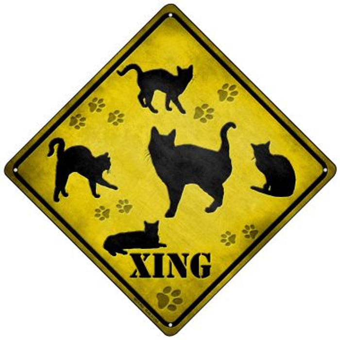 Cats Xing Novelty Mini Metal Crossing Sign MCX-063
