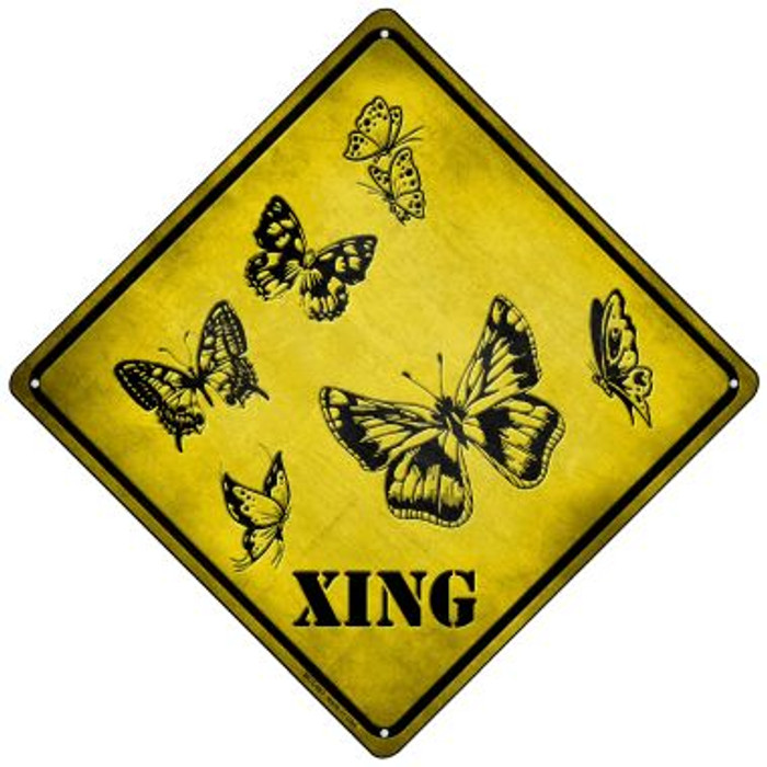 Butterflies Xing Novelty Mini Metal Crossing Sign MCX-067