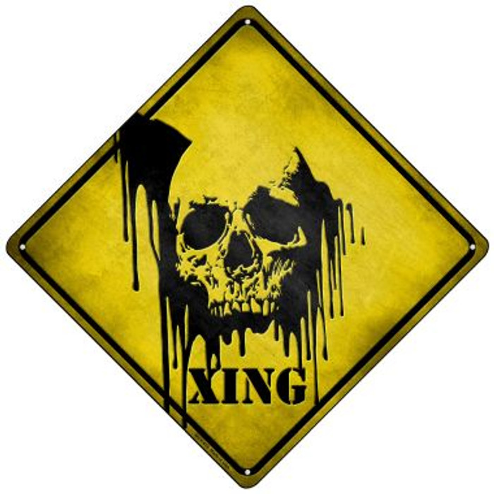 Bleeding Skull Xing Novelty Mini Metal Crossing Sign MCX-076