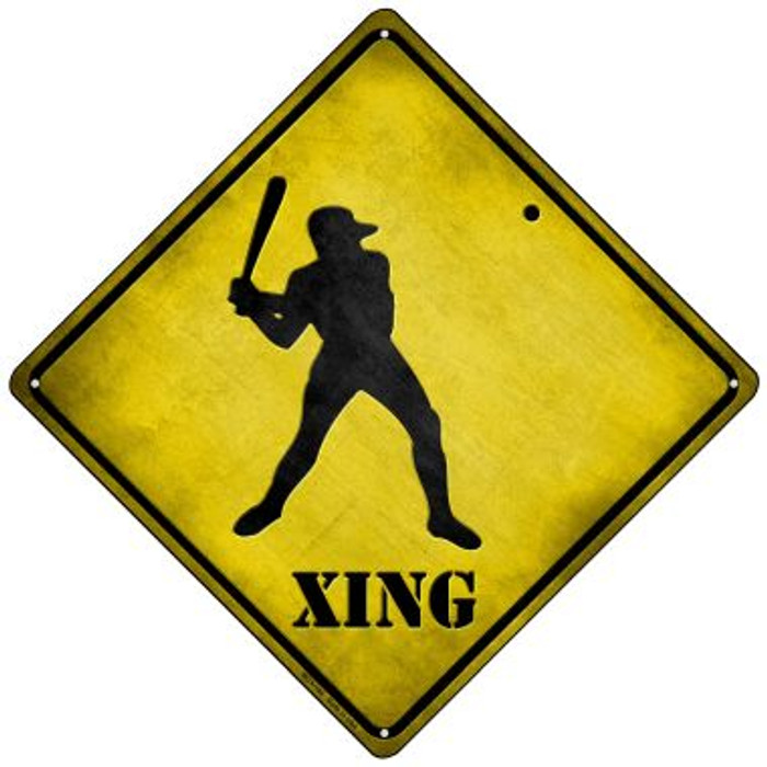 Baseball Xing Novelty Mini Metal Crossing Sign MCX-104