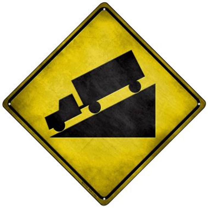 Down Grade Novelty Mini Metal Crossing Sign MCX-115