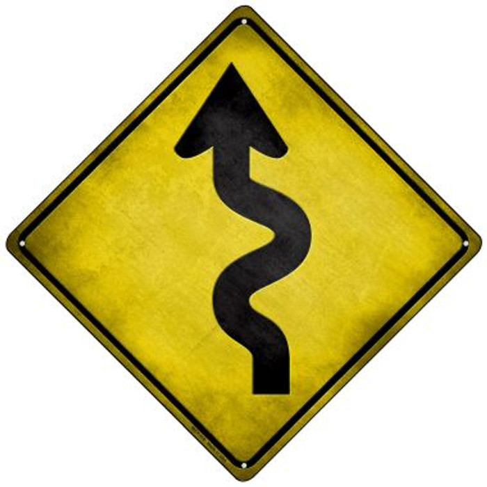 Curved Road Novelty Mini Metal Crossing Sign MCX-118